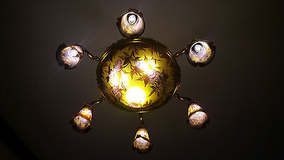 Emile Galle Cameo Art Glass Chandelier.