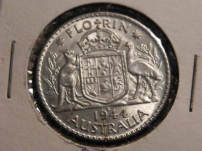 Australia 1944 S - 1 Florin Sterling Silver Coin - King George VI - WWII