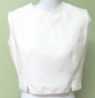 """Vintage  1950's  White Cotton Crop Top/ 38"""" Bust / Back Buttons"""