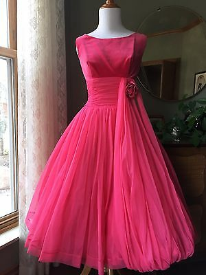 50s Dress Hot Pink Velvet Cocktail Gown Draped Layered Tulle Fit Flare 1950s Vtg