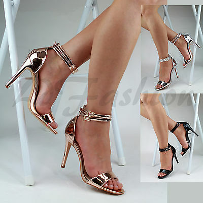New Ladies Stiletto High Heel Sandals Ankle Strap Peep Toe Party Evening Shoes