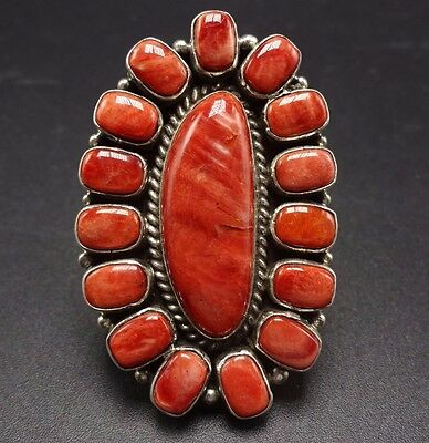 NAVAJO Sterling Silver & Orange Spiny Oyster Shell Cluster RING, size 6.5, 20.6g