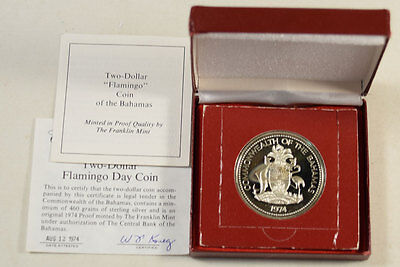 1974 Bahamas 2 Dollars Sterling Silver Proof, With Original Gov't Pkg, Km #66A