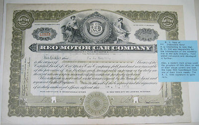 1916 Reo Motor Company Stock Certificate Ransom Olds Signed Exc/nr Mint