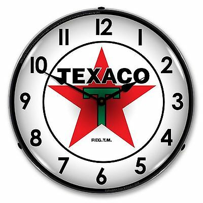 Texaco With Numbers Lighted Wall Clock