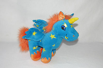 Neopets Uni Unicorn Pegasus Starry Star Orange Blue Plush Stuffed Stars Toy 12""