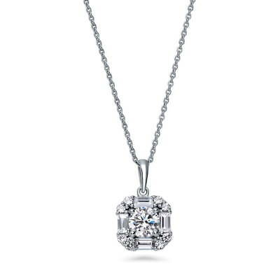 BERRICLE Sterling Silver Round Cut CZ Art Deco Halo Pendant Necklace