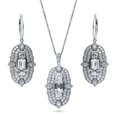 BERRICLE 925 Silver CZ Art Deco Milgrain Bridesmaids Necklace and Earrings Set