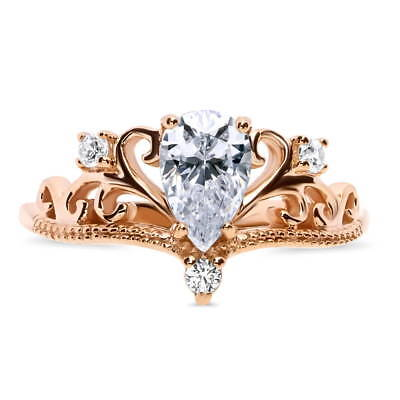 BERRICLE Rose Gold Over Silver CZ Crown Filigree Milgrain Promise Ring 0.9 Carat