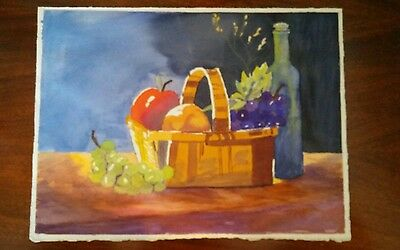 Beautiful Vintage Original Signed Watercolor on Paper Still life