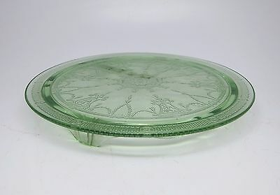 Vintage Green Glass Cake Plate