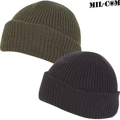 Mil-Com Mens Army Stretchy Bob Hat Military Beanie Black Olive Green Headwear