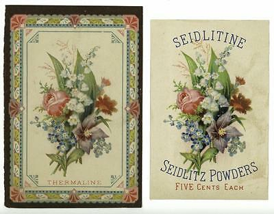 Lot of 2 Bouquet Thermaline Seidlitine LL Kreider Witmer PA Victorian Trade Card