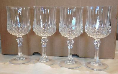 "4 Durand Chris D'Arques ""Longchamp"" Lead Crystal Stemmed 8oz. water wine goblets"