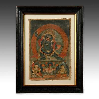Rare Antique Thangka Devotional Painting Pigment Cloth Tibet Buddhism 18Th C.