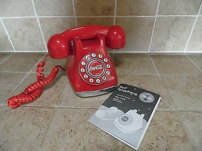 2001 Red Coca Cola Telephone w/ Push Button Dial & Instruction Booklet