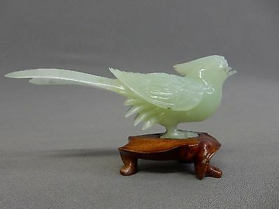 JADE BIRD, w/CHIPS, IT'S HAND CARVED ASIAN, CHINESE, vintage, light green.