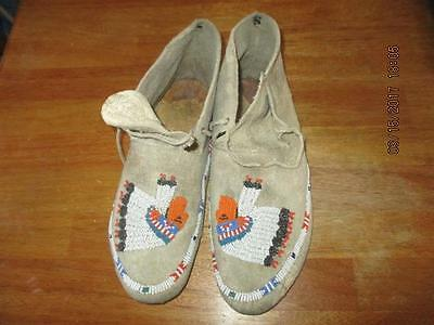 Vintage Beaded Native American Moccasins Indian Chief