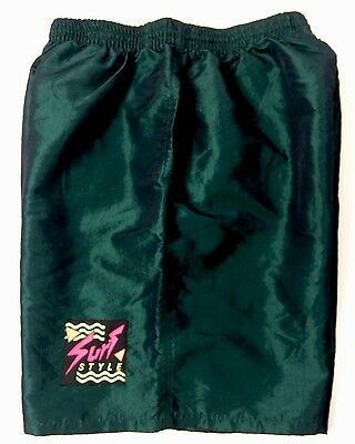 Vintage 90s Surf Style Shorts Green Iridescent Adult Size Large Nylon Poly