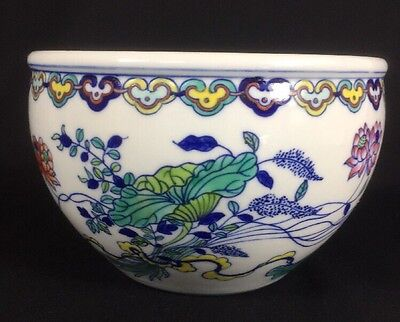 Chinese Traditional Hand Painted Blue Floral Decorative Plant Flower Pot 6""