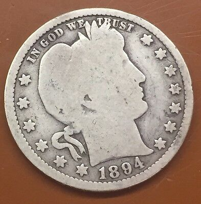 1894-P Barber Silver Quarter : 100's Of Auctions