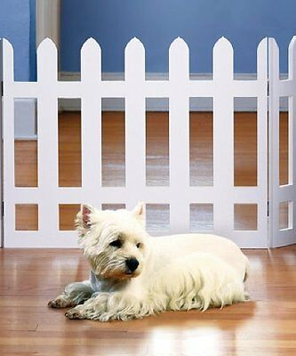Picket Fence Folding Pet Gate Great for Small and Medium Pets - White Finish