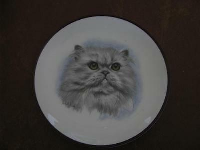 Grey Persian Cat Plate By Derick Bown Brown Rim 6 1/2""