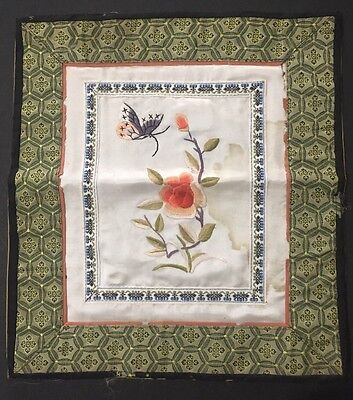 Vintage CHINESE Hand SILK Embroidered Tapestry BUTTERFLY Dun Huang Beijing