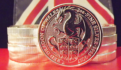2017 Great Britain QUEEN'S BEAST £5 TWO Oz: RED DRAGON of WALES : 3rd In Series