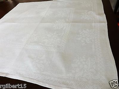 """12 Damask Napkins Linen White Lily of the Valley Flowers 22"""" Set of 12 lot"""