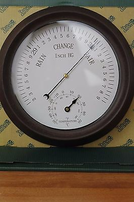 Garden Barometer and Thermometer Weather Station Clock - Indoor and Outdoor Use