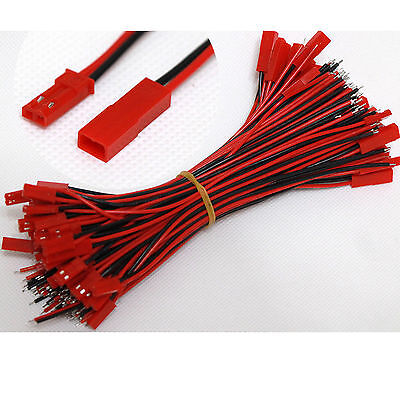 10P JST Plug and Socket connectors Pre-Wired 150mm leads 2pin Red and Black Wire