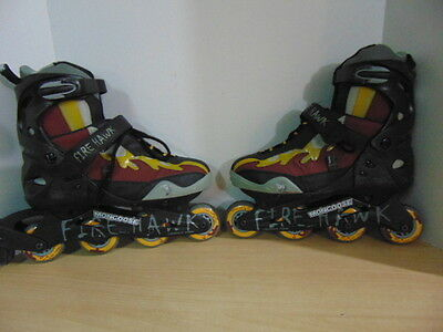 Inline Roller Skates Mens Size 12 Mongoose Fire Hawk Black Grey Burgundy Yellow