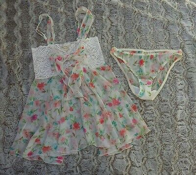 Victoria Secret Gold Label Vintage Small Floral Lace Sheer Babydoll Panties Set