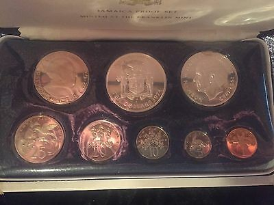 1974 Jamaica Uncirculated Coin Set - 8 Coins - Franklin Mint with COA