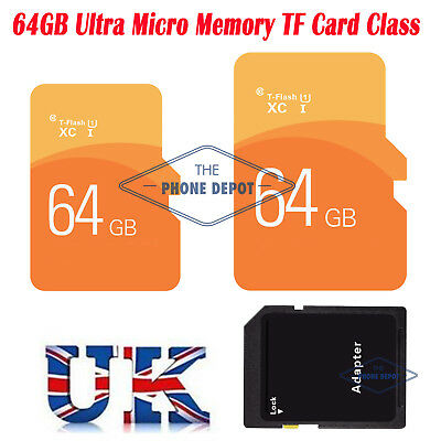 64GB Ultra Micro SD SDHC TF Card Class 10 Dig.Camera/Phone/Tablets w/ADAPTER UK