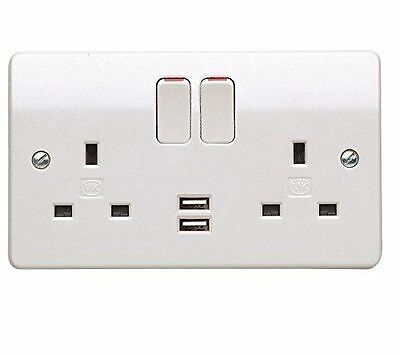 MK 13A 2-Gang Double Pole Switched Socket with 2.1A USB Charging