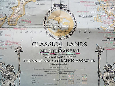 Vintage 1940 National Geographic Map - Classical Lands of the Mediterranean