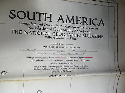 """Vintage 1950 National Geographic Map - South America - 39"""" x 28"""""""