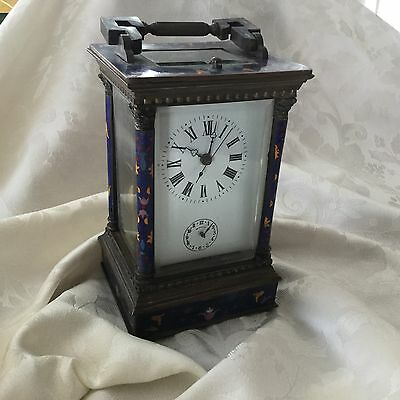 Vintage Cloisonné French Style Carriage Clock