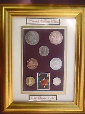 PERSONALISED FRAMED 1967 OLD BRITISH COINAGE SET 50th BIRTHDAY GIFT IN 2017