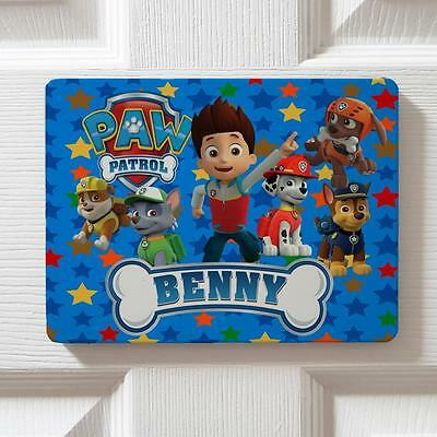 Personalised Paw Patrol Boy Children Bedroom Door Kids Name Sign Plaque DPE6