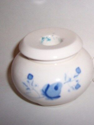 Set of 1 Porcelain Base to hold votive with Blue Roses Vintage Home Interiors