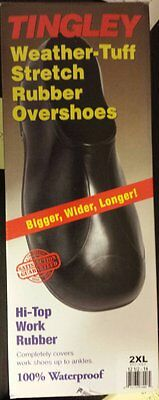 TIngley 1300 Mens Hi-Top Weather-Tuff Rubber Overshoes - 2XL Size 12.5 - 14