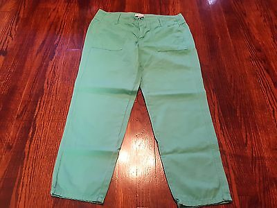 J. Crew Collection Women's Green Crop Pants Size 4 Flat Front
