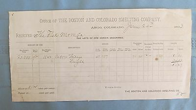 1893 Argo Colorado Boston & Colorado Smelting Company Ore Certificate-Fisk Mine