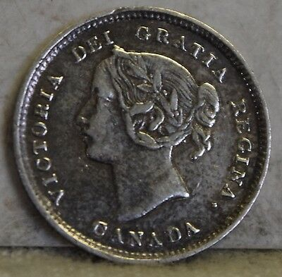 """1893 *Silver* Canadian Five Cents """"XF"""" *Free S/H After 1st Item*"""