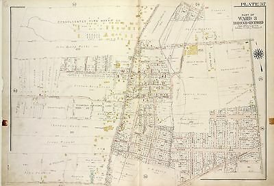 1917 Richmond Oakwood Staten Island,Ny Merrill Cemetery G.w. Bromley Atlas Map