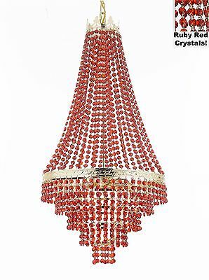 French Empire Crystal Chandelier Moroccan Style Trimmed w/ Ruby Red Crystal!