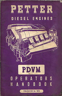 Petter Diesel Engines PDVM Original Operators Handbook + Parts List 1960 No 8024